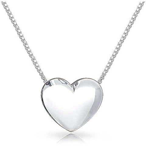 Bling Jewelry 925 Sterling Silver Cuore Presentazione del pendente della collana di amore 18in