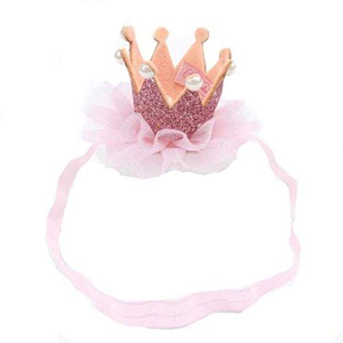 FEITONG Niña Cabeza Accesorios Banda para el cabello pelo del bebé banda elástica Flor corona Envoltura de la cabeza (rosado)