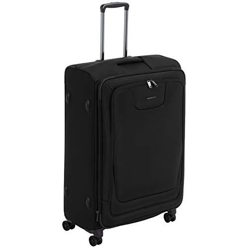 AmazonBasics, Premium, valigia espandibile, morbida, con rotelle multidirezionali e chiusura TSA, 74 cm, Nero