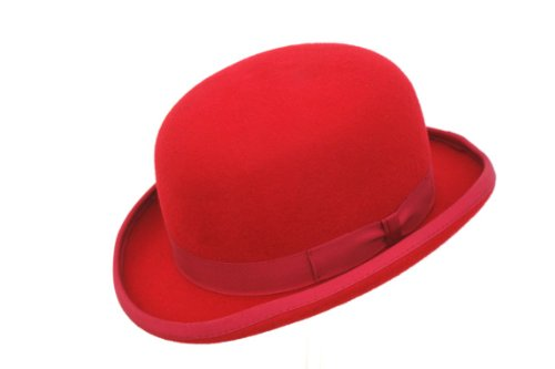 The Hat Outlet - Chapeau Melon - Homme Rouge Rouge