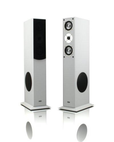 1 Paar Standlautsprecher Mohr SL15 weiss Lautsprecherboxen, HiFi Klang zum guenstigen Preis, elegante HiFi Standboxen aus Holz, als Stereolautsprecher oder Heimkinolautsprecher geeignet