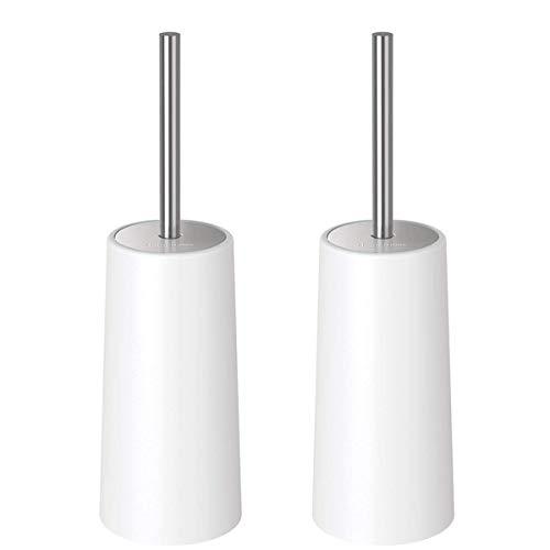 Homemaxs WC-Bürste und Behälter, WC-Garnitur Klobürste mit Längere Griff, Modernes Toilettenbürsten für die Toilette (2er Pack) - Weiß