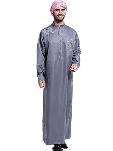 Dreamskull Muslim Abaya Dubai Muslimisch Islamisch Arab Arabisch Indien Türkisch Casual Festlich Kaftan Robe Kleid Maxikleid Herren Männer (XXXL, Grau) (Muslimischen Kostüm Für Männer)