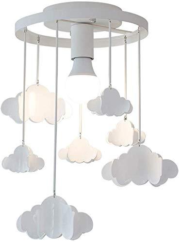 Liunce Deckenleuchte kreative Kinderzimmer Metall Pendelleuchte schöne weiße Acryl Wolke Moderne hängende Lampen-Befestigungs-Fitting Semi Flush Mounted Deckenleuchte for Schlafzimmer E27 Edison -