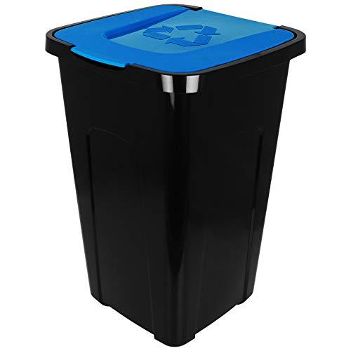 Recycling mit Farbauswahl Mülltonne mit Klappdeckel Mülleimer Abfalleimer (Blau) ()
