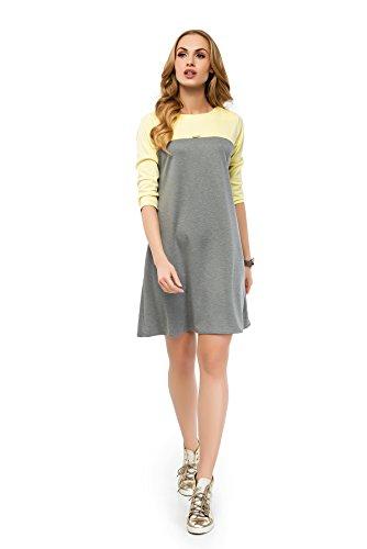 Futuro Fashion - Damen Sportliches Mini Kleid U-Boot Ausschnitt 3/4 Ärmel Etui A-Line FA424 Aschen Gelb