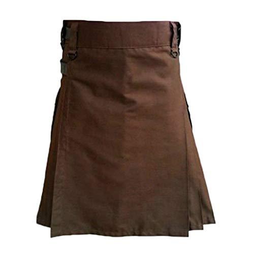 Classic 80's Kostüm - Xuthuly Mens Classic Vintage Kilt Schottland Gothic Fashion Solid Color Kendo Pocket Röcke Schottische Kleidung Beruf Party Cosplay Kostüm