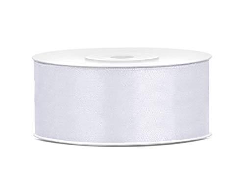 Dekohaus nastro in raso, 25 mm x 25 m, bianco, länge: 25 m, breite: 25 mm