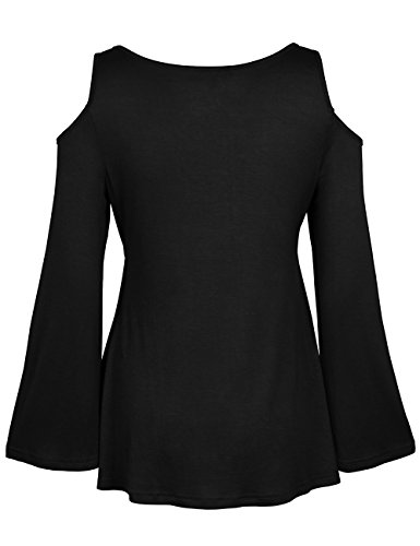 ISASSY - Top à manches longues - Slim - Col Chemise Classique - Manches Longues - Femme Noir noir 36 Noir