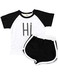 Mornyray 2PC Unisex Little Children Summer Cotton Palabras de Manga Corta  Sudadera Camiseta Shorts Set 6a82c9586f34