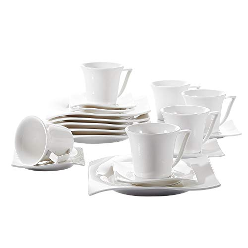 Vancasso Lolita Ivory White 18-Piece Coffee Sets Porcelain Afternoon Tea Sets with Cups Saucers Set and Dessert Plates, Service for 6 Persons