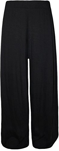 Nouveaux Femmes Larges jambe Flared Plaine palazzos Pantalons Black