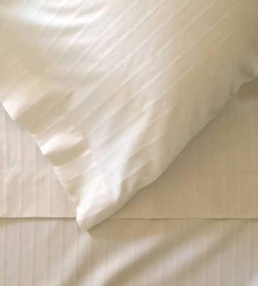 Öse Home Decor Stripe Muster Gastfreundschaft Grade Ultra Komfort Fadenzahl 1000Ägyptische Baumwolle 4Stück Bogen Set mit 45,7cm Deep Pocket Spannbetttuch Queen Ivory Damask Stripe -