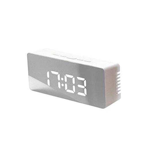 LEDMOMO LED Despertador Digital con espejo con Termómetro de Interio Dos Tipo alarma y snooze para dormitorio oficina Funciona con pilas Alimentado por USB ( plateado rectángulo)