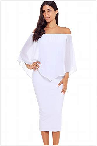 MTX-Girl cloth Minikleid Tube Top Wort Schulter Grid Fledermaus Sieben-Punkt-Ärmeln Schlank Midi Kleid, Weiß, L