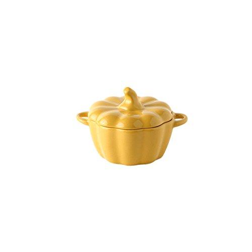 CJH Nettes Kürbis-Geschirr mit Deckel-Haus-kreativer Reis-Schüssel-Westsuppen-Schüssel-Nachtisch-Obstschale 250ml (Baum Stehen Banane)