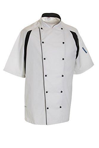 Le Chef De11 Kochjacke Staycool Weiß Mit Schwarz Coolmax Panele - Weiß, XXL - Tunika Chef Mantel