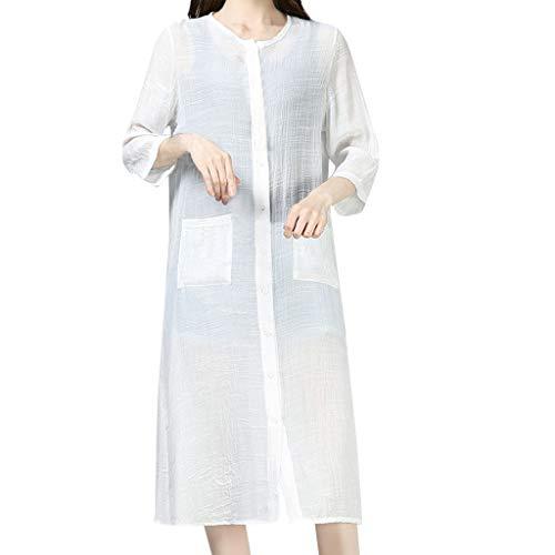 Strickjacke Damen, GJKK Einfarbig Leinen Cardigan mit Tasche und knöpft Lange Sommer Shirts Sonnenschutz Lange Top Anti-UV Lange Bluse Kimono -