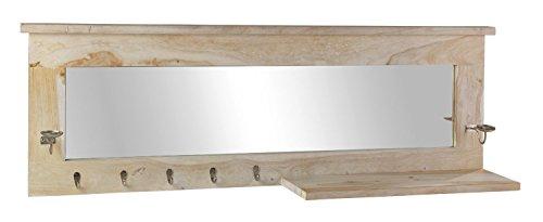 Garderobenspiegel Flurspiegel Wandspiegel | 150x51 cm | Shisham teilmassiv | 5 Haken | mit Ablage