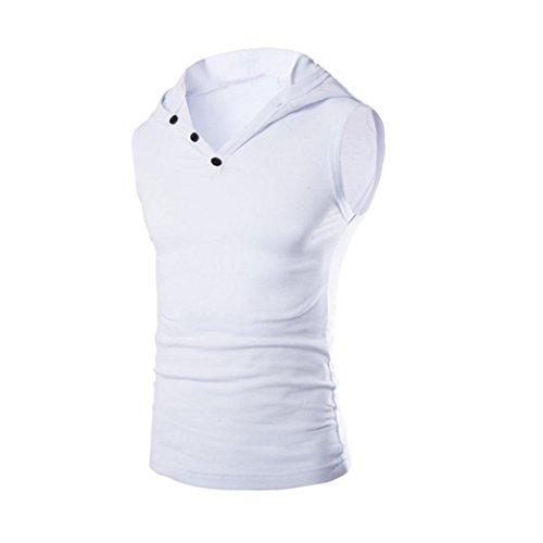 Herren Sommer Mode Mit Kapuze Pullover Amlaiworld Tank Herren Ärmellos T-Shirt (Weiß, M) (Mit Kapuze Shirt ärmelloses)