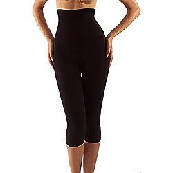 Farmacell 323 (Negro, M/L) Pantalon hasta la pantorrilla con talle alto, moldeador, anti-celulitis y con efecto push-up