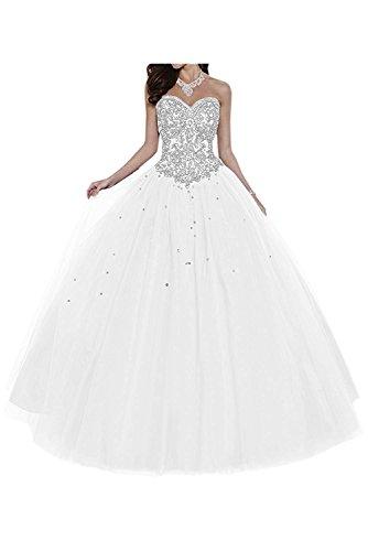 Dresses Onlie Damen Hochzeitskleider Lange Quinceanera Kleider Prinzessin Perlstickerei Abendkleider Ballkleider(Weiß,32) Quinceanera Kleid