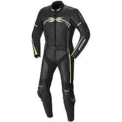 IXS Camaro Combinaison en cuir pour homme Noir/jaune fluo