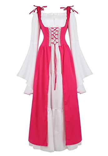 Mittelalter Kleid Renaissance Damen mit Trompetenärmel Party Kostüm bodenlang Vintage Retro Costume Cosplay Rose rot S -