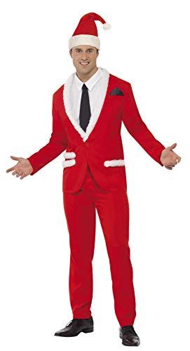 Smiffys Costume Père Noël cool, Rouge, avec veste, pantalon, chapeau, fausse chemise et