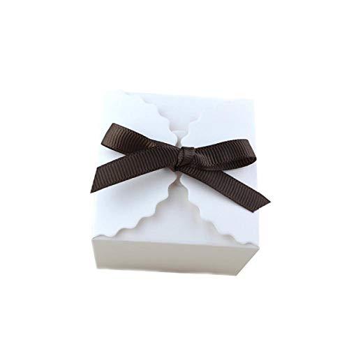 LKXHarleya 10 Teile/Satz Vintage Weiß/Kraft Mini Quadrat Kraftpapier Box Kuchen, Kekse, Süßigkeiten, Süßigkeiten Geschenk-Boxen Weihnachten, Geburtstage, Feiertage, Hochzeiten Mit Band