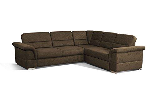 Cavadore Eck-Sofa Tuluza mit Bett / Moderne Eck-Couch mit Schlaffunktion grau / Größe: 262 x 87 x 233 cm (BxHxT) / Dunkelbraun