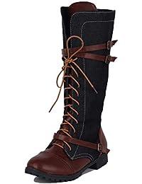 Minetom Mujer Botas Martin Largas Casual Planas Zapatos Otoño Invierno Retro Cuero Empalme Mezclilla Botas Altas