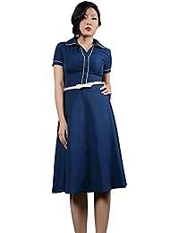 f27d013d758 Robe Chic Vintage 1950 S Rockabilly Marine pour femme - Pentagramme - Miss  Marylin