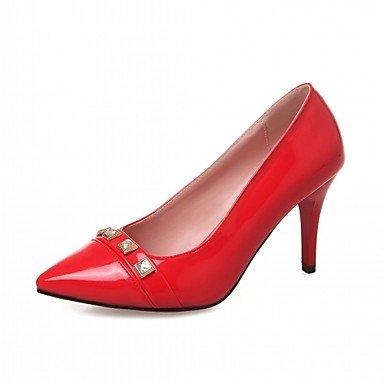 Talloni delle donne Primavera Autunno Dress Comfort in similpelle ufficio & carriera a spillo tacco casuale Rivet Rosso Bianco mandorla Red