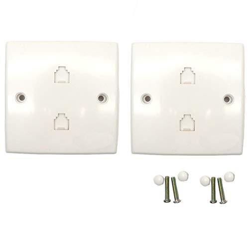 BTMB JL-2012 Doppelanschlussdose für Telefonanschluss, mit 4 Leitern, Weiß, 2 Stück Keystone-port-wall Plate