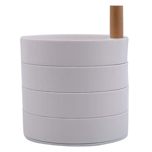 LWANFEI 360 Grad drehbare Schmuck Aufbewahrungsbox Multilayer Schmuckablage Schmuckzubehör, Weiß -