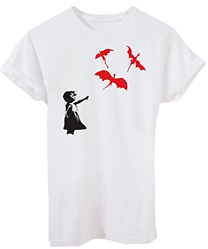 T-Shirt BANKSY MOTHER OF DRAGONS KHALEESI PALLONCINO DRAGHI - DIVERTENTI - Maglietta iMage Bianca