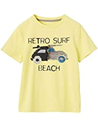 VERTBAUDET Camiseta Divertida para niño con Lentejuelas Reversibles