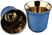 QIANYIXIAN 80ml Set of 2 Stainless Steel Espresso Cups Set Insulated Tea Coffee Mugs Double Wall Cups