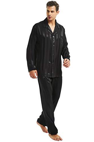 Herren Seide Schlafanzug Pyjama Homewear Streifen Schwarz XXXX-Large -