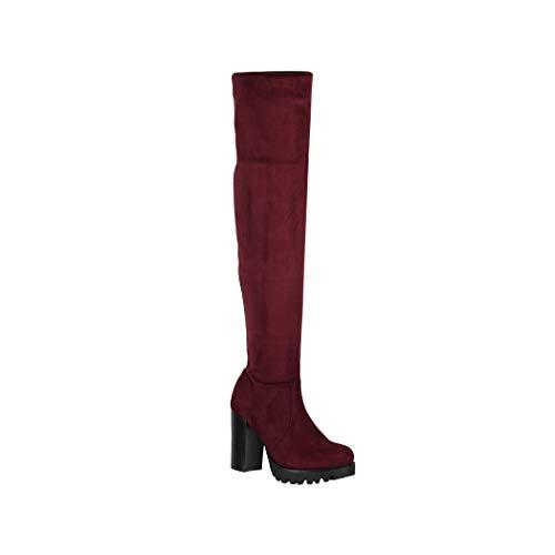 Elara Botas para Mujer Overknee High Heels Tacón Alto Bordeaux Chunkyrayan 0-96-Burgundy-36