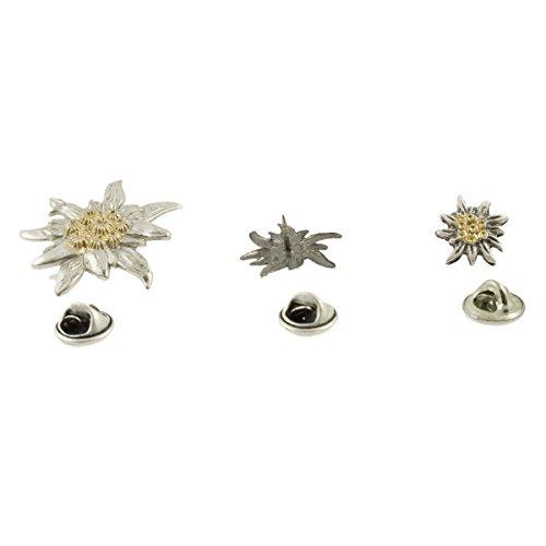 htenschmuck * Edelweiß Ansteck-Pin Set (3 Größen) * Damen & Herren Trachten-Pins * Anstecknadel und Buttons fürs Oktoberfest (Bicolor-Farben) ()