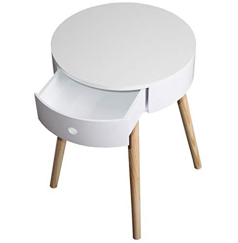 KMH, mesita/mesita de Noche RIKKI Blanca, con Cajón en Diseño Moderno y escandinavo (# 800076
