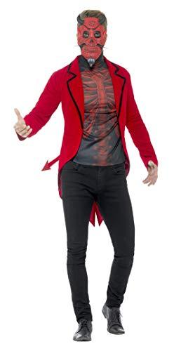 Smiffys Herren Tag der Toten Teufel Kostüm, Jacke, Oberteil und Maske, Größe: L, 44938 (Teufel Kostüm Maske)