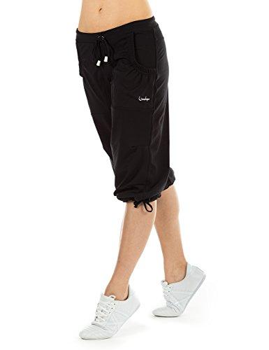 Winshape Damen Feel Good 3/4 Trainingshose WBE6 Dance Fitness Freizeit Sport, Schwarz, M