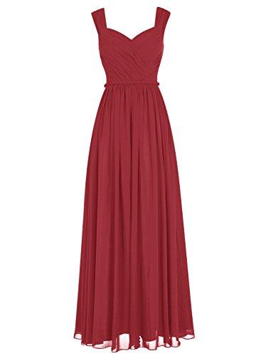 Bbonlinedress Robe de cérémonie Robe de demoiselle dhonneur mousseline longueur ras du sol Rouge Foncé