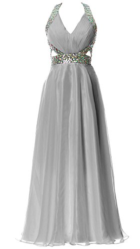 MACloth Women Halter V Neck Long Homecoming Dress Wedding Party Formal Ball Gown Silber