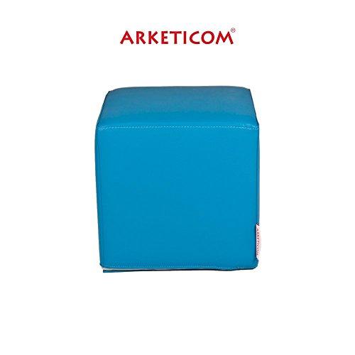 Arketicom BABY DADO, Puf Cubo Seduta per bambini in Ecopelle Martellata (Sfoderabile e Lavabile) e (Pelle Italiana Del Sofà)