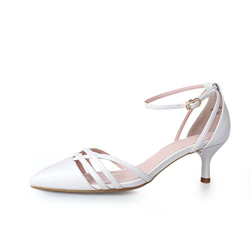 voguezone009-womens-buckle-kitten-heels-microfiber-solid-pointed-closed-toe-sandals-white-36