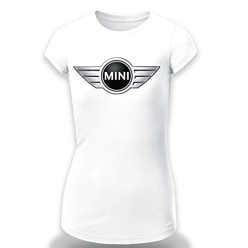 Mini Cooper T-Shirt Clipart Women CAR Logo Auto Tee TOP Black White Short Sleeves (XS, White) -